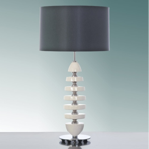 Cream Table Lamp With Charcoal Shade Lui/Cordelia Ls1002