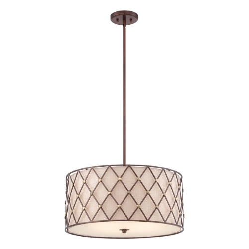 QZ/BROWNLATT/P/L Brown Lattice Large Pendant 4 Light
