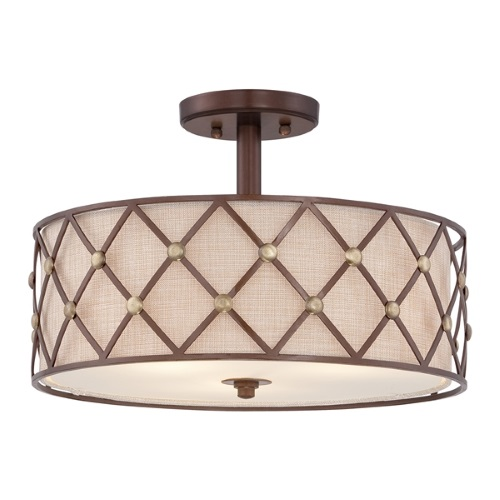 QZ/BROWNLATT/SF Brown Lattice Semi-Flush 3 Light