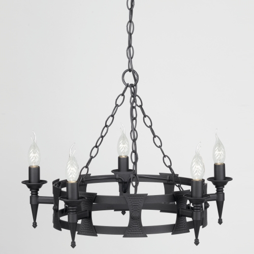 SAX5 BLK Saxon 5 Arm Ceiling Light