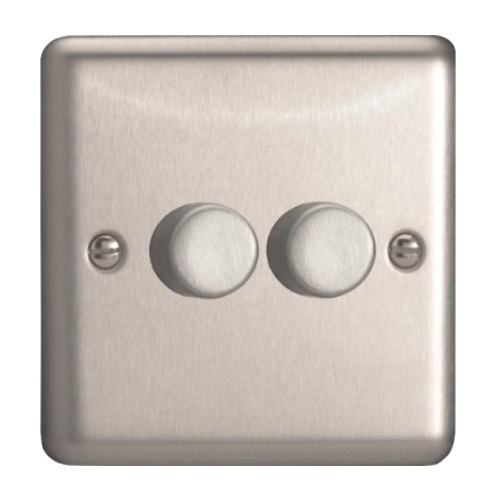 Satin Chrome 2 Gang Dimmer HS83