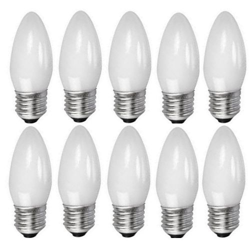 Pack Of 10 40W ES E27 Opal Candle Lamps