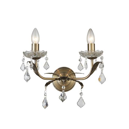 newest collection 5623d b7e97 Evon Antique Brass Crystal Double Wall Light Cf1706/02/Wb/Ab