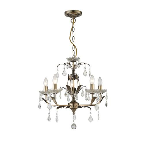 Evon Crystal Multi-Arm 5 Light Pendant CF1706/05/AB