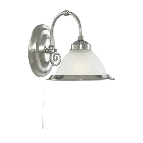 American Diner Satin Silver Wall Light 1041-1