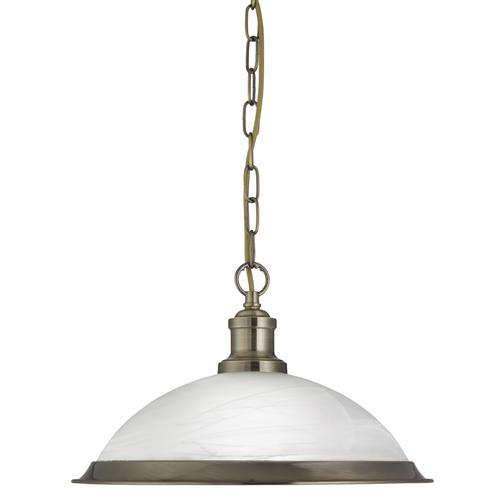 Bistro Single Antique Brass Pendant Ceiling Light 1591AB