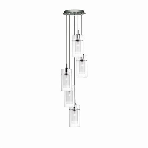 Duo 1 Chrome 5 Light Ceiling Pendant 2305-5