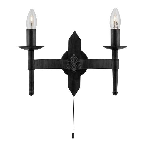 Cartwheel Wrought Iron Black Double Wall Light 2422-2BK