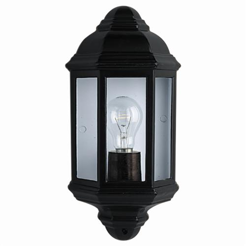 Black Outdoor Half lantern Wall Light 280BK