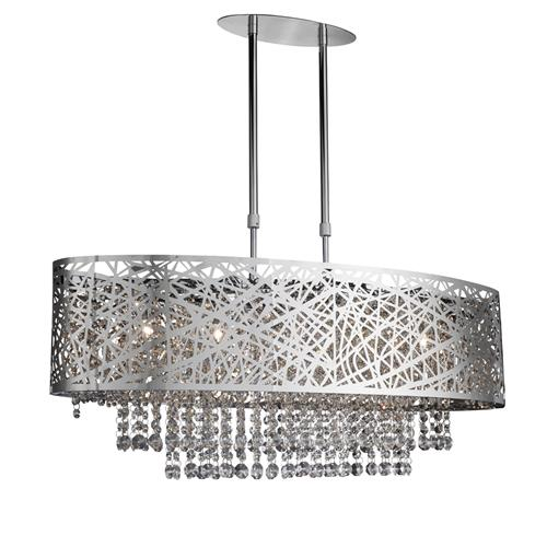 Mica Chrome And Crystal Oblong Ceiling Light 3055-5Cc