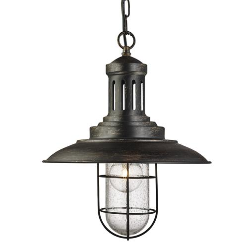 Fisherman Black Gold Caged Lantern Pendant Light 5401BG