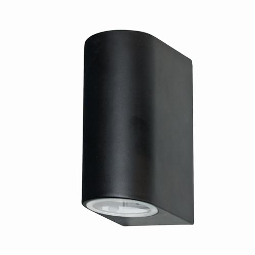 Outdoor Black Double Wall Light 8008-2Bk-Led