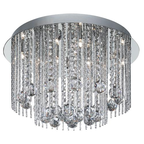 Flush Crystal And Chrome Light Fitting 8088-8Cc