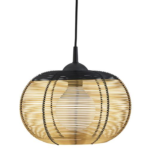 8541GO Black And Gold Caged Dome Pendant Light