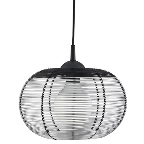 Black And Silver Caged Dome Pendant Light 8541Si