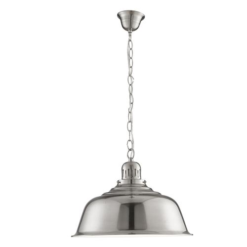 Satin Silver Domed Pendant Light 8551Ss