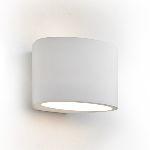 Gypsum Oval Paintable Plaster Wall Light 8721