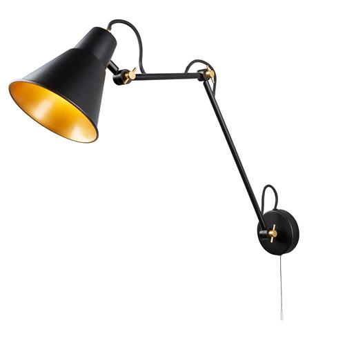 Adjustable LED Matt Black/Gold Wall Light 7403Bk