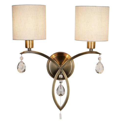 Alberto LED Antique Brass Double Wall light 1602-2AB