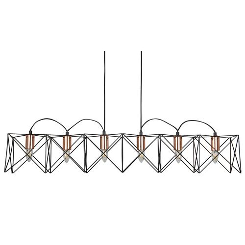 Anthea LED Six Light Black Copper Ceiling Pendant Light 8416-6Bk