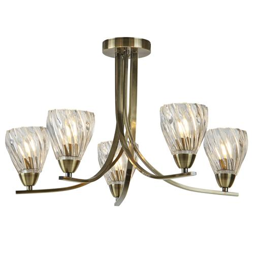 Ascona 2 LED Antique Brass Twisted Five Arm Ceiling Light 4275-5AB