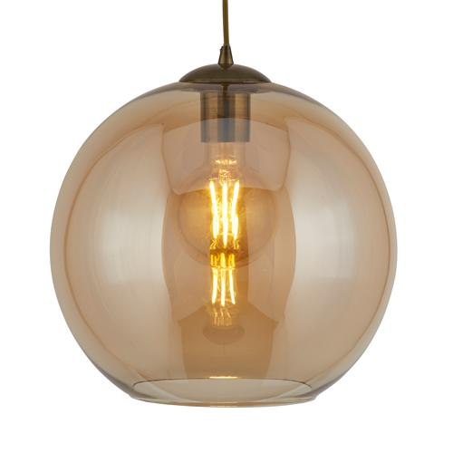 Balls LED Antique Brass Round Amber Glass Single Pendant Ceiling Light 1621AM