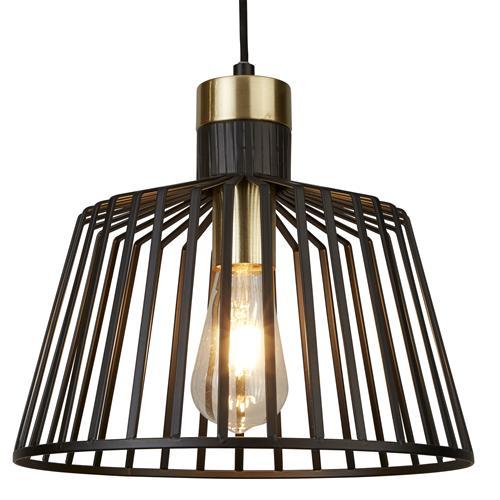 Bird Cage Led Large Matt Black Satin Brass Pendant Light 9411bk The Lighting Superstore