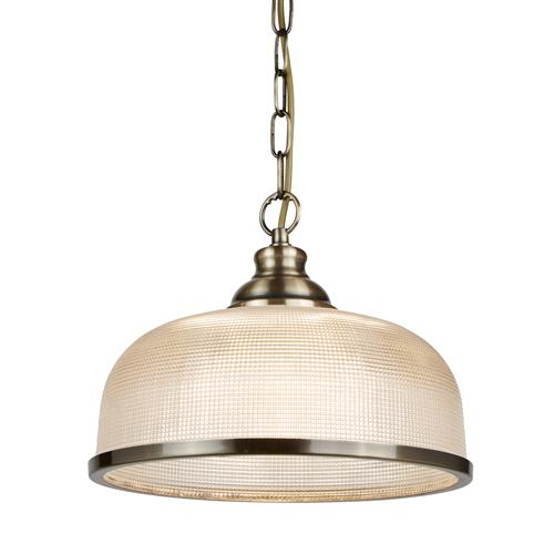 Bistro 2 LED Antique Brass Single Pendant Ceiling Light 1682Ab