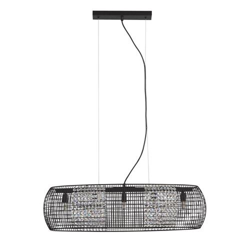 Cage Black & Crystal Glass Ceiling Pendant 9095-5BK