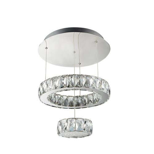 Clover LED Chrome/Crystal Two Tiered Ceiling Pendant Light 2328Cc