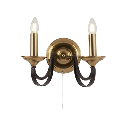 Daela Bronze And Brown Switched Double Wall Light 1842-2BZ