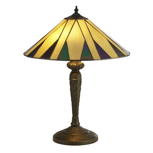 Dallace Tiffany Glass Antique Brass Table Lamp 7066-42