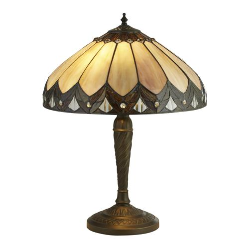 Dallis Antique Brass Tiffany Glass Table Lamp 6706-40