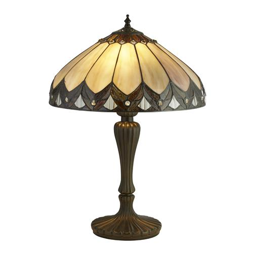 Dallis Tiffany Glass Antique Brass Table Lamp 6705-40