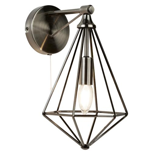 Diamond LED Single Antique Silver Pyramid Wall Light 2541Si