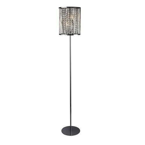 Elise Crystal Glass Polished Chrome Double Floor Lamp 8932Cc