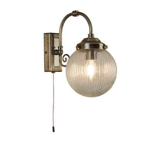 Sensational Globe Antique Brass Single Bathroom Wall Light 3259Ab Home Interior And Landscaping Fragforummapetitesourisinfo