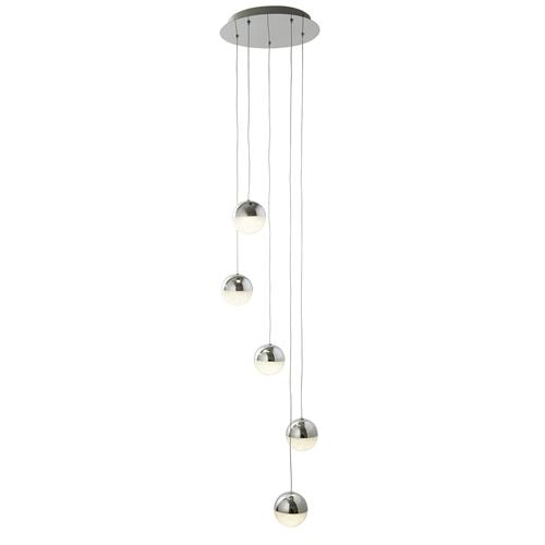 Marbles LED Polished Chrome Five light Ceiling pendant 5845-5cc