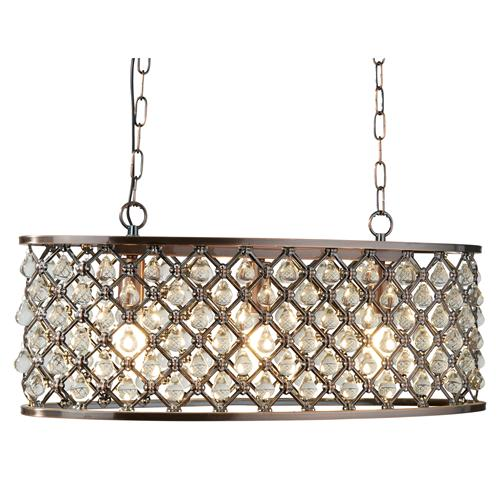 Marquise Antique Copper Oval Three Light Ceiling Pendant 6953-3Cu