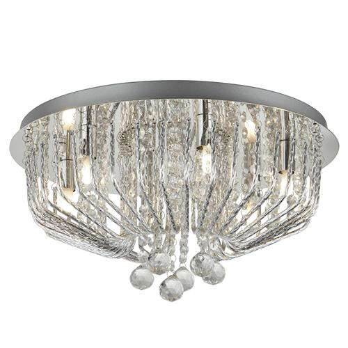 Mela LED Chrome/Crystal Semi Flush Ceiling Fitting 7786-6Cc