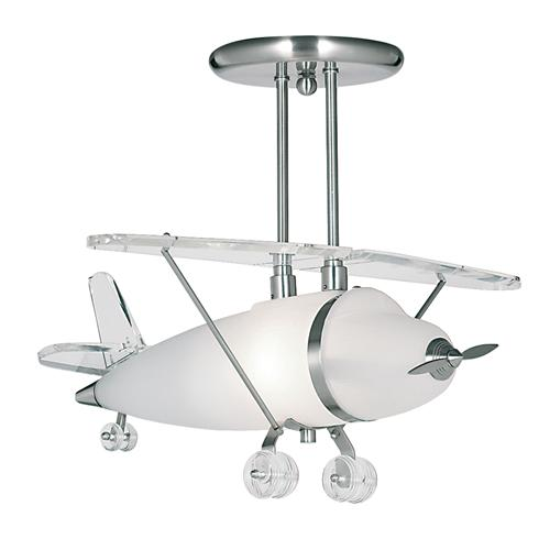 Novelty LED Airplane Satin Silver/Frosted Glass Ceiling Light 737