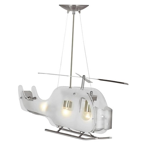 Novelty LED Satin Silver Helicopter Ceiling Light 639