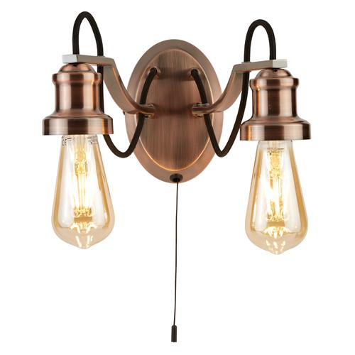 Olivia LED Antique Copper Double Wall Light 1062-2Cu