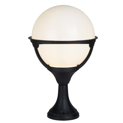 Orb Lantern LED Black/Opal Outdoor Post Light 8740
