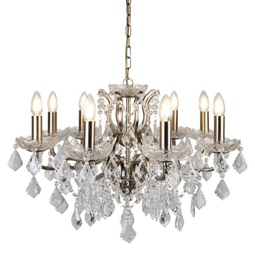 Paris LED Antique Brass Crystal Ceiling Pendant 8738-8Ab