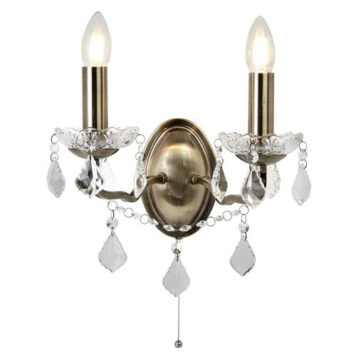 Paris LED Antique Brass Double Wall Light 8732-2Ab