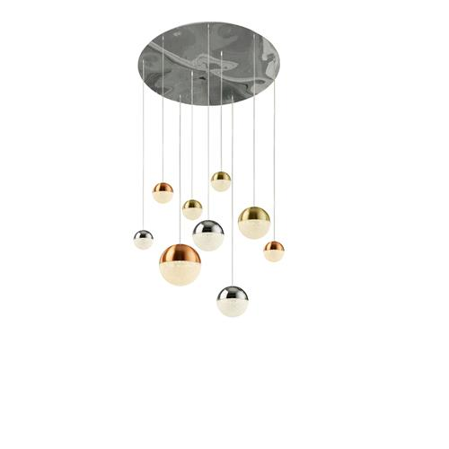 Planets Mixed Coloured LED Nine Light Ceiling Pendant 4519-9
