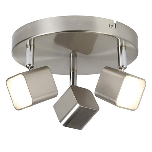 Quad LED Satin Silver Square Adjustable Spot Ceiling Fitting 4233Ss