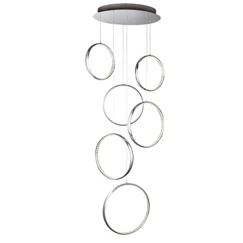 Rings LED Chrome/Crystal Multi-Drop Ceiling Pendant 3166-6Cc
