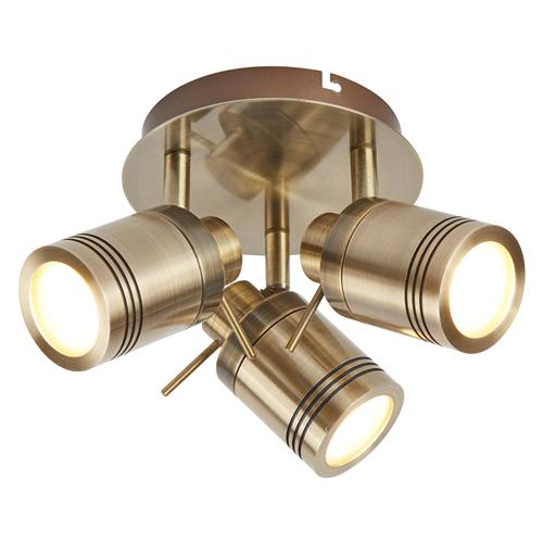 Samson IP44 LED Antique Brass Bathroom Round Spot Ceiling Light 6603AB